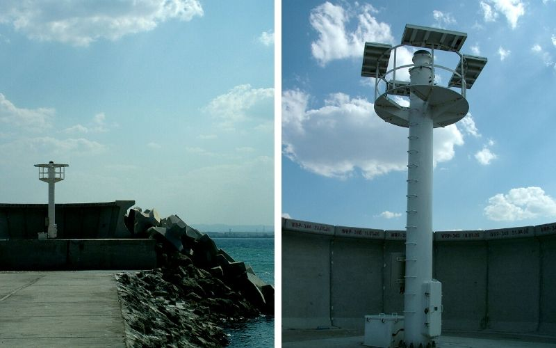 "Navigational aid at the shipyard and the ""Japanese"" lighthouse, Port of Burgas © Bela Benova, September 2007"